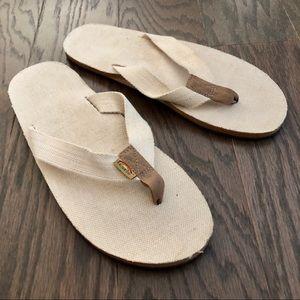 Rainbow Hemp Single Layer Flip Flop Sandals